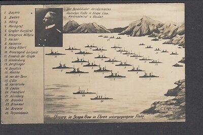 Military WW1 German Naval Fleet at Scapa Flow before Scuppering 1918