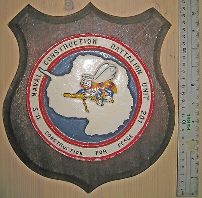 Original U.S. World War 2 NAVAL CONSTRUCTION BATTALION UNIT 201 CB SEABEE PLAQUE
