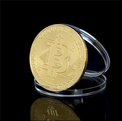 40mm Gold Plated Bitcoin Coin Collectible Gift BTC Coin ArtCollection PhysicalWF