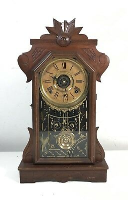 Antique Victorian E INGRAHAM & CO Gingerbread Mantel Clock w/Key 1870s