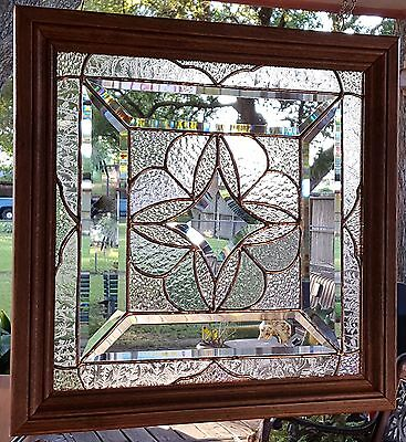 Tiffany Style Stained Glass Window Art Panel Suncatcher Wood Frame
