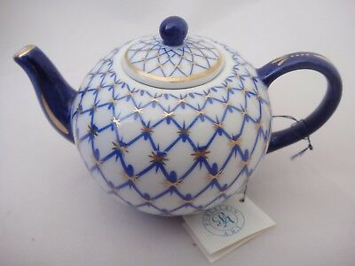 Lovely Miniature Blue and White Teapot by Porcelain Art