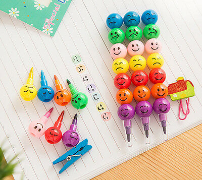 7 Colors Cute Stacker Swap Smile Face Crayons For Kids Children Drawing Pen Gift
