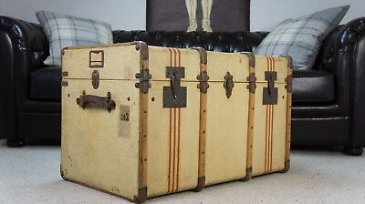 Beautiful Antique Canvas Striped Banded Trunk