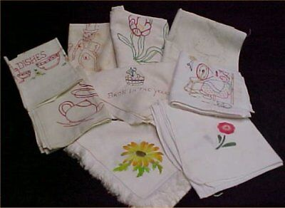 9 Vintage Antique Kitchen Tea Towel Embroidery Stenciled Feedsack LOT 1940s Era