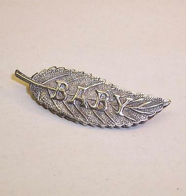 Vintage/Antique SOLID SILVER Leaf BABY BROOCH - Perfect Condition