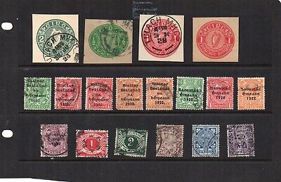 Stamps from old Album - Ireland x 18 - mixed condition - as per scans