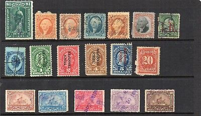 Stamps from old Album - USA Revenues x 18 - mixed condition - as per scans