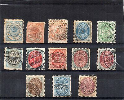 Stamps from old Album - Denmark x 13 - mixed condition - as per scans