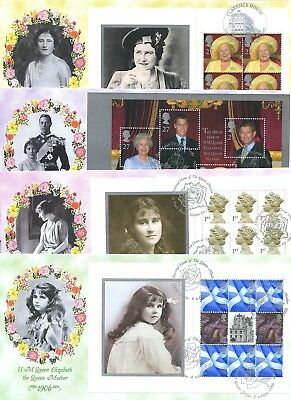 2000 QUEEN MOTHER PRESTIGE BOOK PANES GREAT BRITAIN BRADBURY FDC's x4 76/500