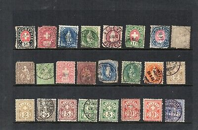 Stamps from old Album - Switzerland x 24 - mixed condition - as per scans
