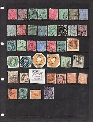 Stamps from old Album - India and States x 40 - mixed condition - as per scans