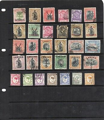 Stamps from old Album - Borneo and Labuan x 31 - mixed condition - as per scans