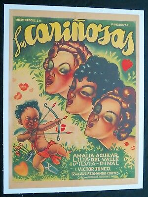 ERNESTO GARCIA CABRAL Las Carinosas MEXICAN MOVIE POSTER ON LINEN 1953 Vintage