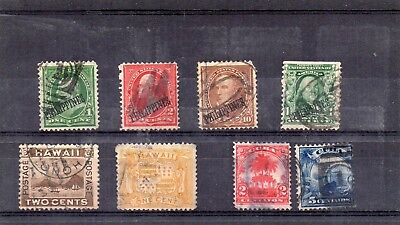 Stamps from old Album - USA Possessions x 8 - mixed condition - as per scans