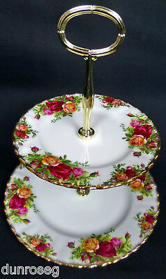 OLD COUNTRY ROSES 2-TIER CAKE STAND, 1st QLTY, GC, 1962-73, ENGLAND ROYAL ALBERT