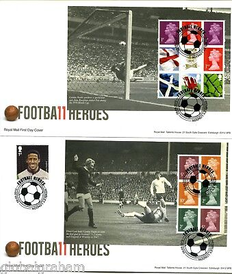 2013 FOOTBALL HEROS GREAT BRITAIN ROYAL MAIL PRESTIGE BOOKLET PANES FDC x4 VGC