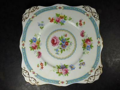 TUSCAN China BLUE LOWESTOFT CAKE PLATE, Richly Gilded, C9684, 26.5cm vgc