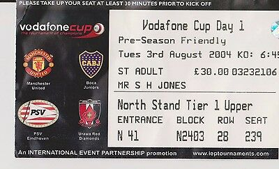 Manchester United Vodafone Cup Day1 Match Ticket 2004