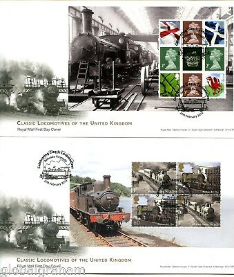 2014 UK LOCOMOTIVES GREAT BRITAIN ROYAL MAIL PRESTIGE BOOKLET PANES FDC x5 VGC