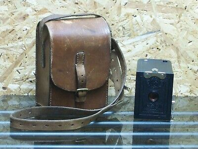 Vintage Kodak Box Brownie Camera No. 0 Model A Rare USA Film 127 & Leather Case