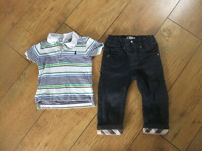 Baby Boys Ralph Lauren Burberry Polo Shirt Trousers Age 12-18 Months
