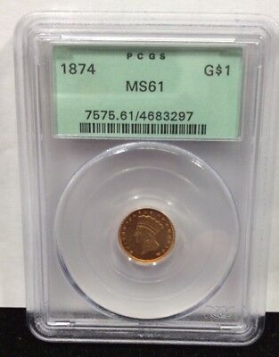 1874 $1.00 Gold Indian Princess Head PCGS MS61