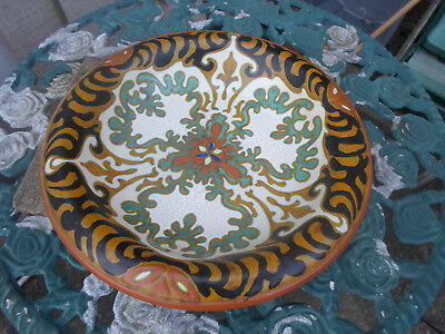 "Vintage Gouda PZH Art Pottery  "" Rhodian "" Hand Painted Large Charger"