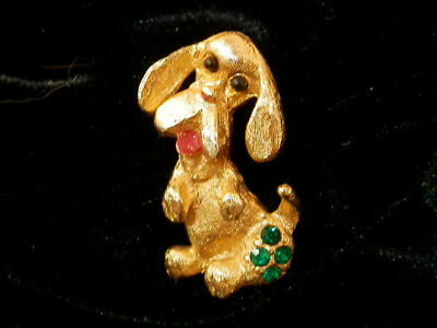Cute Little Begging Pup Dog Brooch With Green Rhinestone Hiny Vintage 60's 450s7