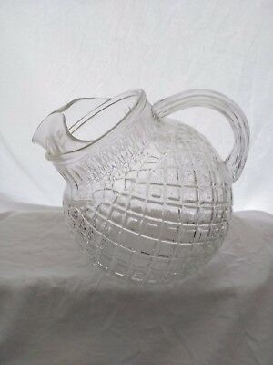 Vintage, Hocking Glass, Waterford or Waffle Pattern, Large Pitcher, Clear