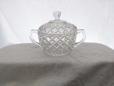 Vintage, Hocking Glass, Waterford or Waffle Pattern, Sugar Bowl with Lid, clear