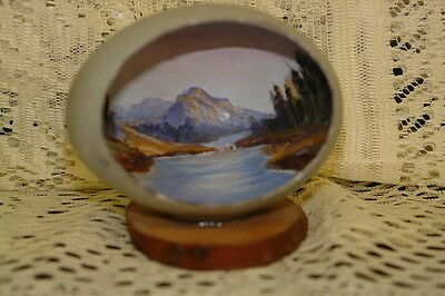 Vintage Folk Art Hand Painted Egg with Panoramic Mountain Scene
