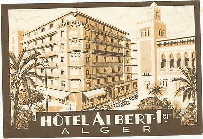 HOTEL ALBERT 1ER luggage DECO label (ALGER)