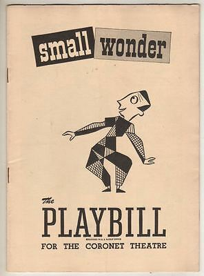 """Small Wonder""  Playbill  1949  Jack Cassidy, Tom Ewell, Alice Pearce"