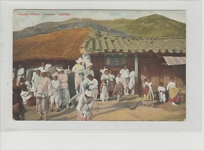 Asia Korea Village Street In Chusan Shows Group Of Villagers P/M Derby 1910