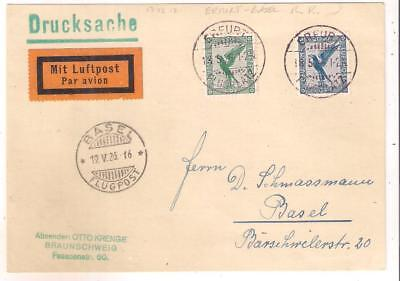 25152A RARE GERMANY First flight Erfurt - Basel Switzerland May 1926