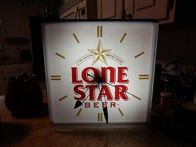 Vintage Lone Star Beer Clock Light Up Sign National Beer of Texas TX