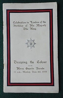 Antique Programme for Birthday of King George V Trooping the Colour 1935