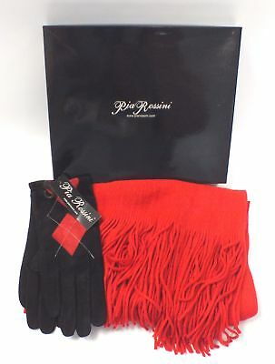 New PIA ROSSINI Suede Rhianna Argyle Gloves & Red Scarf Set - S89