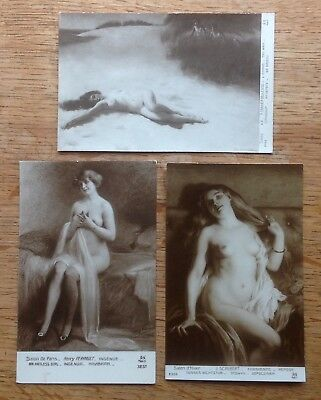 Three old postcards of female nudes, unposted, French by AN, Paris