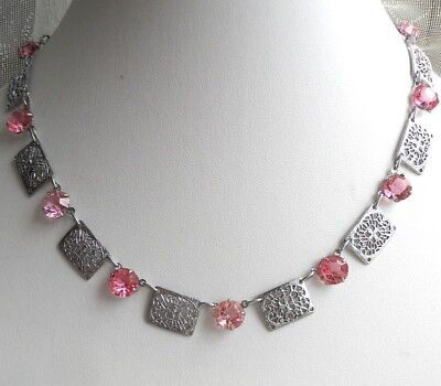 ART DECO Pink Crystal Stones Silver Tone FILIGREE Panels Vintage NECKLACE