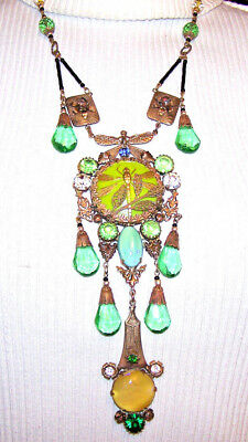 VINTAGE OLD CZECH GREEN/YELLOW gl. beads NECKLACE & GREEN gl. DRAGONFLY PENDANT