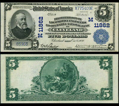 CLE OH $5 1902 PB National Bank Note Ch #11862 Bro. of Loco. Eng. Co-op NB XF+
