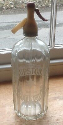 c1920/30s SHIPSTONE'S NOTTINGHAM PURE TABLE WATERS Soda Syphon, paper label