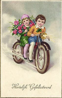 motorcycle kids flowers artist postcard ca. 1940's