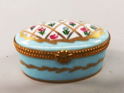 Vintage Hand Painted Limoges France Hinged Porcelain Trinket Box - VOT