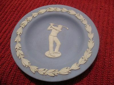 Vintage Wedgwood Jasper Blue & White Small Decorative Plate Golfer G Condition