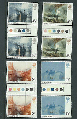 Gb Qeii - 1975 Paintings By Turner - Sg 971/4 - Traffic Light Gutter Pairs - Mnh