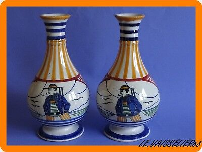 Vintage Two Vases  French Faience Hb Quimper