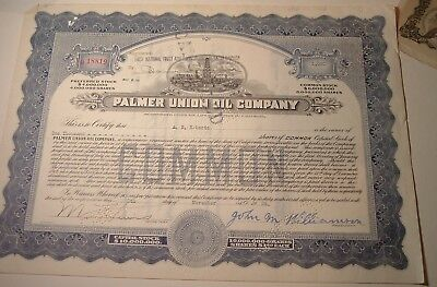 Antique Stock Certificate California PALMER UNION OIL Co. 1929 Oil Rig Vignette